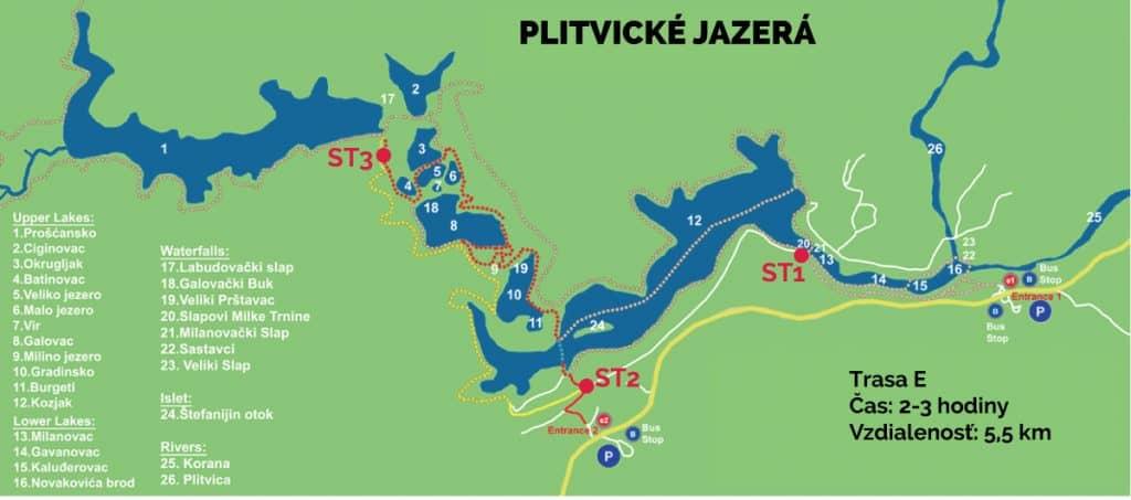Plitvické jazerá mapa